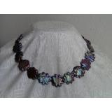Perlový náhrdelník jezerní černé duhové perly 20mm DB005