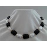 Perlový náhrdelník jezerní bílé perly+černý křišťál NJ9141