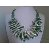 Perlový náhrdelník jezerní biwa perly a zelený aventurín NB095