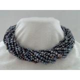 Perlový náhrdelník černé duhové jezerní perly 15 řad NB180