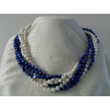 Perlový náhrdelník bílé a sytě modré jezerní perly, 6 řad NB065