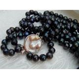 Perlový náhrdelník pravé černé duhové perly, 3řady NB031