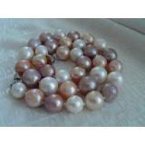 Perlový náhrdelník obláčkové jezerní růžové a levandulové perly 12mm OP019