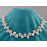 Perlový náhrdelník barokní bílé jezerní drip perly 15mm NJ8050