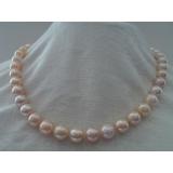 Perlový náhrdelník růžové jezerní perly 10mm, vzácná zlatavá barva NJ9044