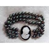 Perlový náramek jezerní černé perly BB070
