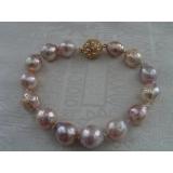 Perlový náramek jezerní růžové obláčkové perly 13mm BB036