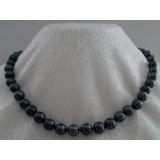 Perlový náhrdelník černé jezerní perly 10mm NJ9053