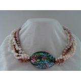 Perlový náhrdelník z barevných perel a duhové mušle abalone YY018