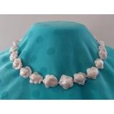 Perlový náhrdelník bílé barokní květinkové jezerní perly 18mm NB145