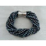 Perlový náramek jezerní černé perly BB171