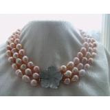 Perlový náhrdelník jezerní růžové drip perly 15mm NB151