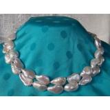 Perlový náhrdelník pravé jezerní bílé perly 17mm, 2řady EC025