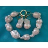 Perlový náramek jezerní bílé reborn keshi perly 22mm BB025