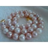 Perlový náhrdelník bílé růžové a levandulové jezerní perly 12mm NJ8761