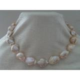 Perlový náhrdelník jezerní barokní růžové perly 22mm NJ9517