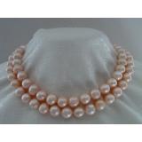 Perlový náhrdelník růžové jezerní perly 12mm NB162