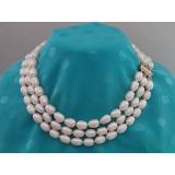 Perlový náhrdelník barokní bílé jezerní perly 12mm NJ7038