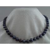 Perlový náhrdelník černé jezerní perly 10mm NJ8316