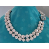 Perlový náhrdelník obláčkové jezerní bílé perly 13mm OP011