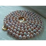 Perlový náhrdelník jezerní růžové a levandulové perly 10mm MG007
