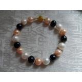 Perlový náramek jezerní růžové, bílé a černé perly 11mm  BB073