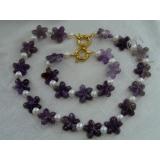 Perlový náhrdelník a náramek jezerní bílé perly a ametyst NJ9184