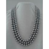 Perlový náhrdelník pravé šedé jezerní perly 10mm, 3řady NB074