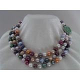 Perlový náhrdelník barevné jezerní perly 10mm NJ8237