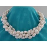 Perlový náhrdelník bílé barokní jezerní perly 13mm, 4 řady NB234