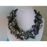 Perlový náhrdelník černé jezerní perly a černá perleť NB057