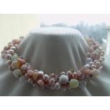 Perlový náhrdelník jezerní růžové a levandulové perly a achát, 4 řady YY053