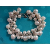 Perlový náramek jezerní obláčkové bílé perly BB072