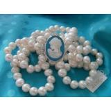 Perlový náhrdelník jezerní bílé perly 11mm, 3 řady NJ10056