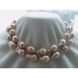 Perlový náhrdelník růžové jezerní perly reborn keshi 25mm NB152