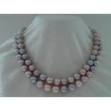 Perlový náhrdelník jezerní levandulové perly 11mm YY073
