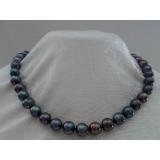 Perlový náhrdelník černé jezerní perly 12mm NJ8048