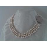 Perlový náhrdelník bílé jezerní perly 8mm, 3řady NB131