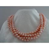 Perlový náhrdelník pravé růžové jezerní perly 10mm, 250cm NB199