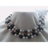 Perlový náhrdelník bílé, černé a šedostříbrné jezerní perly 9mm NB154