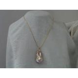 Perlový náhrdelník levandulová barokní jezerní perla 30mm NB087