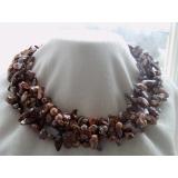 Perlový náhrdelník bronzové jezerní duhové perly NB155