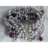 Perlový náramek jezerní šedostříbrné perly a křišťál BB031