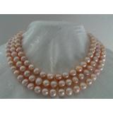 Perlový náhrdelník jezerní růžové perly 10mm EC011