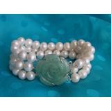 Perlový náramek jezerní bílé perly 10mm, 3 řady BB016