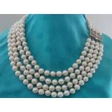 Perlový náhrdelník jezerní bílé perly 9mm, 4 řady NJ7915