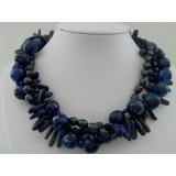 Perlový náhrdelník jezerní černé perly achát a lapis lazuli YY026