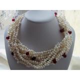 Perlový náhrdelník bílé barokní jezerní perly, 9řad NB089