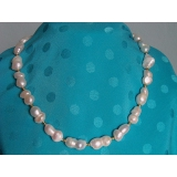 Perlový náhrdelník pravé bílé barokní jezerní perly dvojčata N667