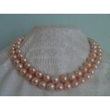 Perlový náhrdelník pravé růžové jezerní perly, 2řady NB041